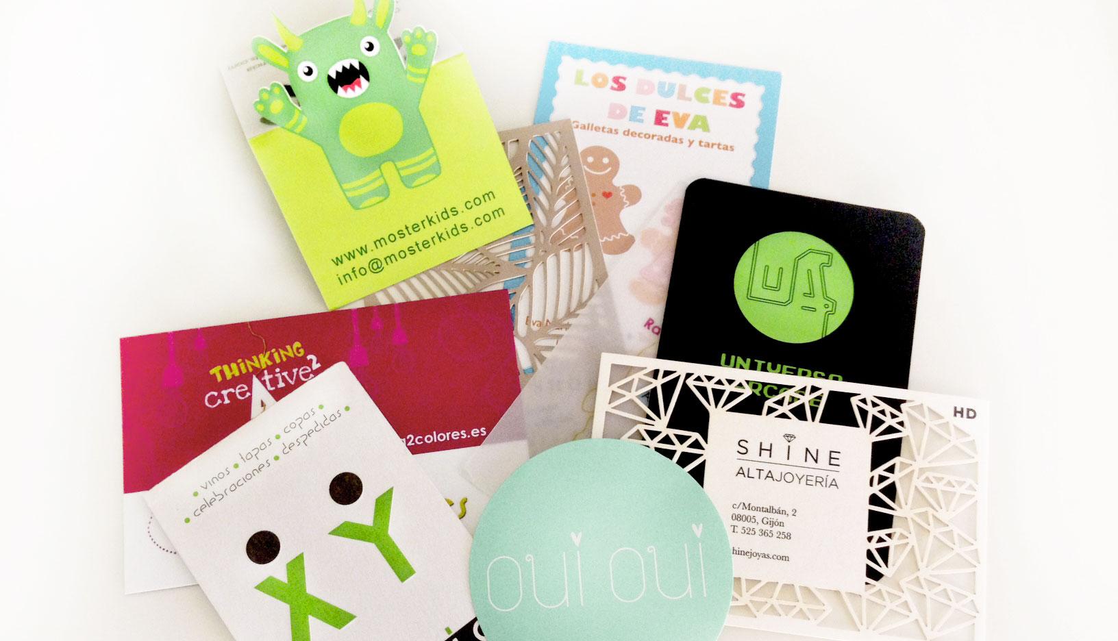 Diferentes diseños de tarjetas de visita en A2colores