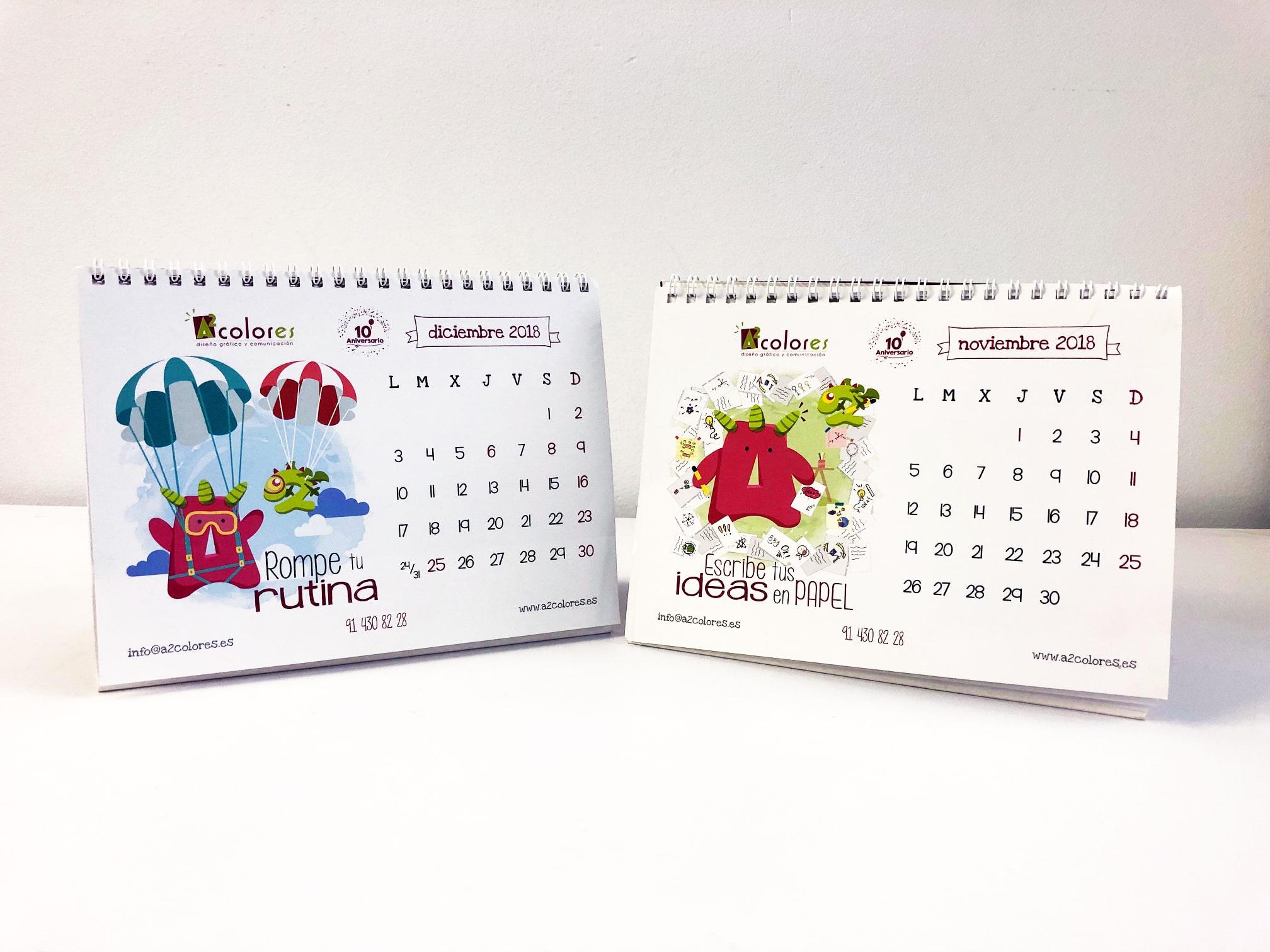 Calendarios diseño A2 colores