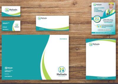 Aplicación en distintos elementos imagen corporativa Helsein - Imagen corporativa