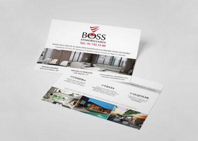 Diseño tarjetones publicitarios BOSS Inmobiliairia - Diseño editorial
