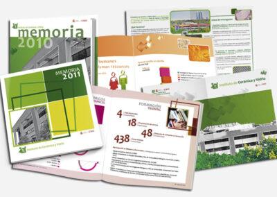 Diseño memorias anuales Instituto Cerámica y Vidrio CSIC - Diseño editorial A2 Colores