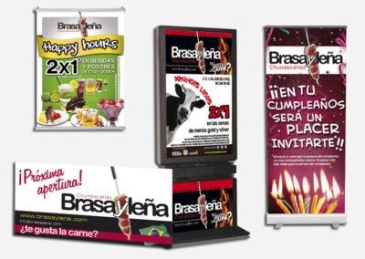 Diseño cartelería, roll ups y mupis para Brasa y Leña - Diseño gran formato A2 Colores