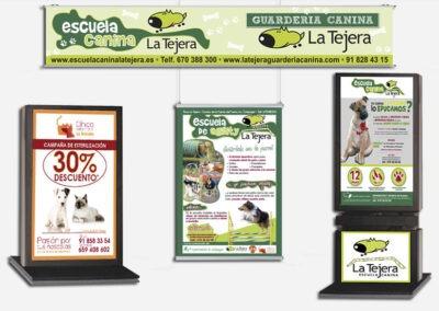 Diseño y producción lonas, mupis y cartelería Escuela Canina La Tejera - Diseño gran formato A2 Colores