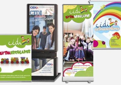Diseño y producción roll ups y mupis publicitarios Cidi - Diseño gran formato