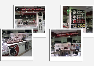 Diseño y producción rótulos luminosos, corpóreos y decoración stand Hamburguesa Nostra - Diseño gran formato A2 Colores