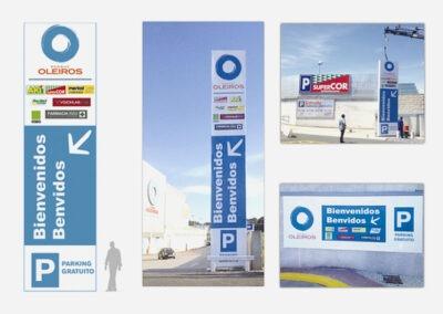 Diseño y producción totems, señalética centro comercial Parque Oleiros - Diseño gran formato A2 Colores