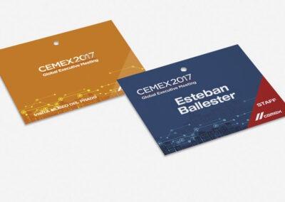 Diseño acreditaciones evento Cemex - Diseño editorial