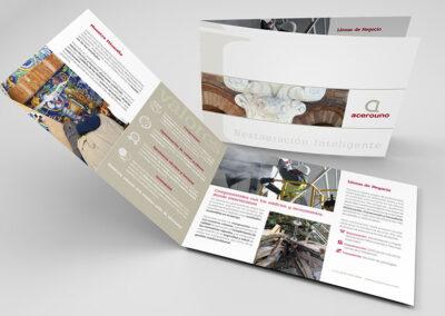 diseño díptico corporativo Acerouno - Diseño editorial