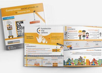 Diseño tríptico informativo Fundación Via Célere - Diseño editorial A2 Colores