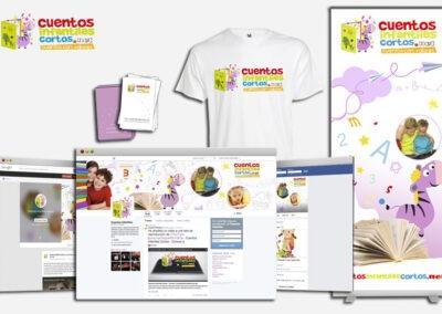 Aplicación imagen corporativa en distintos elementos Cuentos Infantiles Cortos - Imagen corporativa.