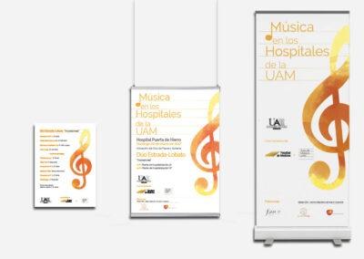 Diseño logotipo y carteleria Musica en los Hospitales UAM - Imagen corporativa.