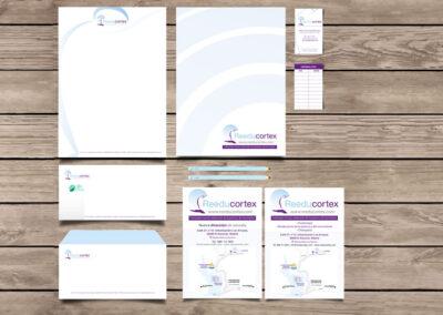 Aplicación en distintos elementos imagen corporativa Reeducortex - Imagen corporativa.