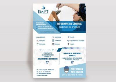 Diseño flyers publicitarios EMYT - Diseño editorial