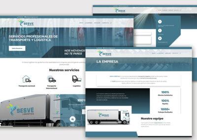Diseño web de servicios y corporativa Sesve Logística. A2colores estudio de diseño gráfico en Madrid