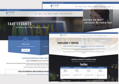 Diseño web de servicios y corporativa Taxi Leganés. A2colores estudio de diseño gráfico en Madrid